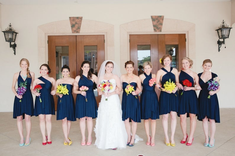 Sweetheart Strapless -cross-straps Halter Deep-V Simple Convertible A-line Backless Cap Criss One-Shoulder Bridesmaid Dr