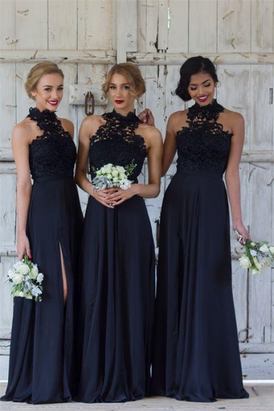 Elegant Dark Navy Halter Lace Side Slit Sheath Bridesmaid Dresses
