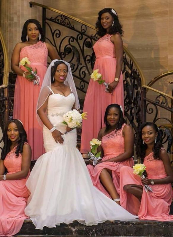 Chic One Shoulder Bridesmaid Dresses | Lace Chiffon Slit Long Maid of the Honor Dresses