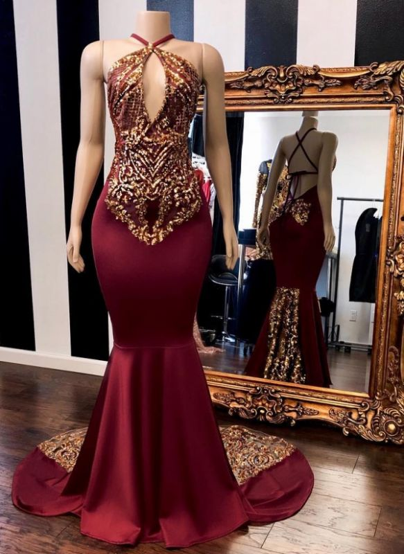 Sexy Burgundy Gold Prom Dresses | Halter Neck Open Back Mermaid Evening Gowns