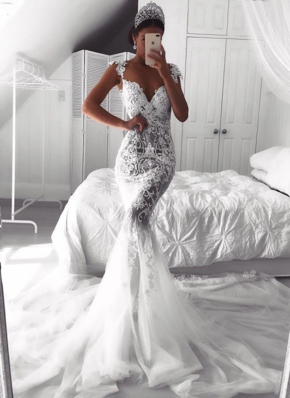 Sexy Lace Mermaid Wedding Dresses | See-Through Cap Sleeves Tulle Bridal Gowns