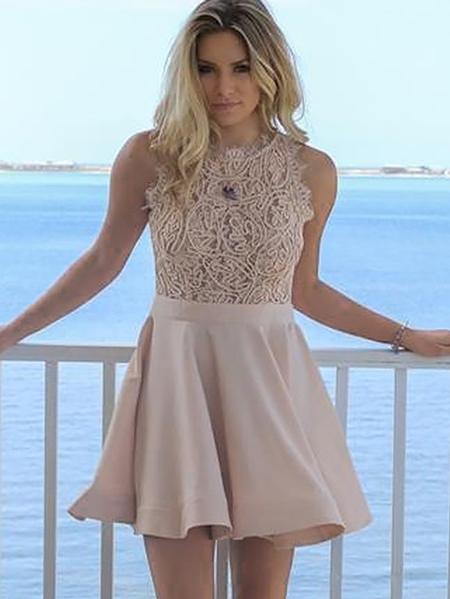 Exquisite A-Line Short Homecoming Dresses | Jewel Sleeveless Lace Graduation Dresses BC0978