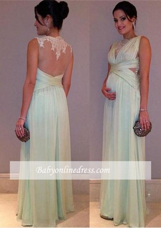 Elegant Chiffon Maternity Dresses | Sheer Back Baby Shower Dresses