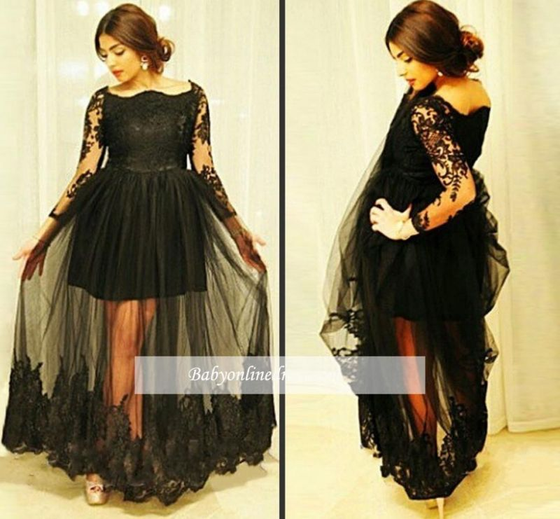 Gorgeous Floor-Length Long Sleeves Lace Black Tulle Maternity Dresses