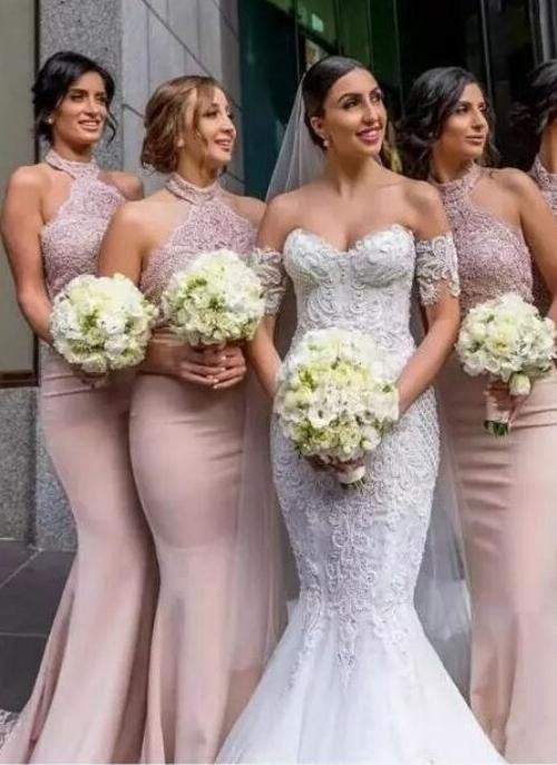 Elegant Lace Mermaid Bridesmaid Dresses | Sexy Halter Long Wedding Party Dresses