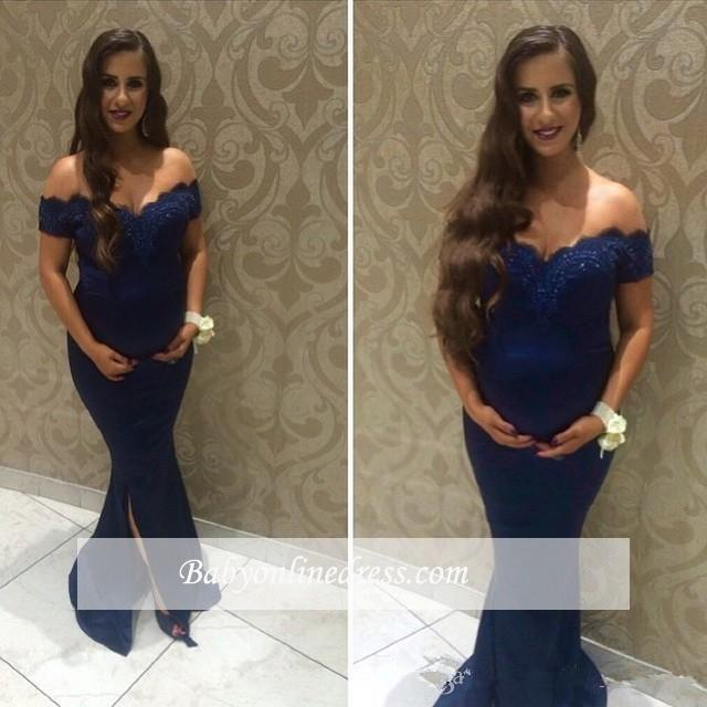 Beads Maternity Newest Sweep-Train Off-the-shoulder Front Slit Baby Shower Dress