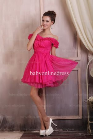 Wholesale Evening Dresses 2021 Off-the-shoulder Ruffle Chiffon Dress Short On Line BO0693
