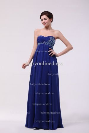 Inexpensive Gorgeous Prom Dresses Loyal Blue Wholesale 2021 Sweetheart Beading Long Chiffon Dresses BO0870