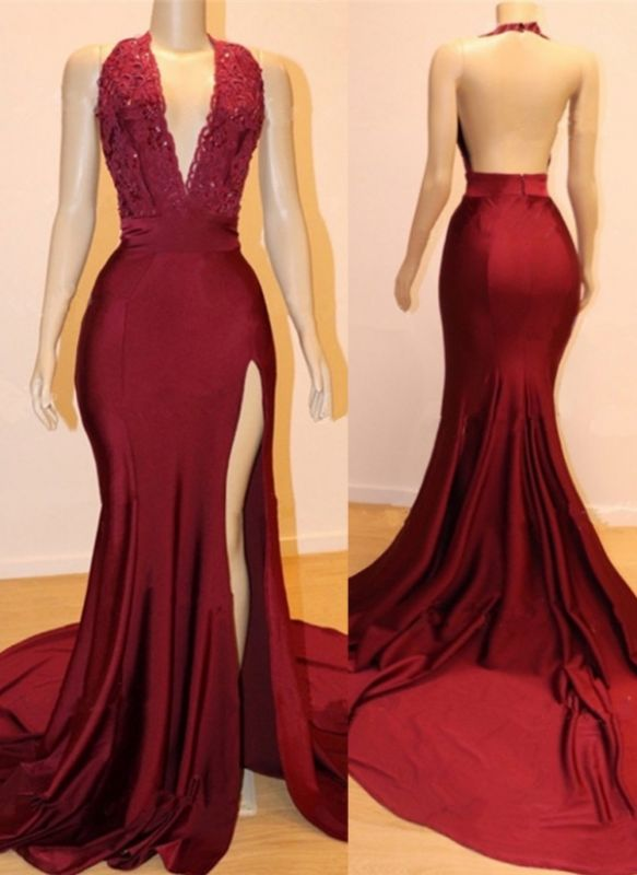 Sexy Burgundy Backless Prom Dresses   Deep V-Neck Open Back Evening Gowns
