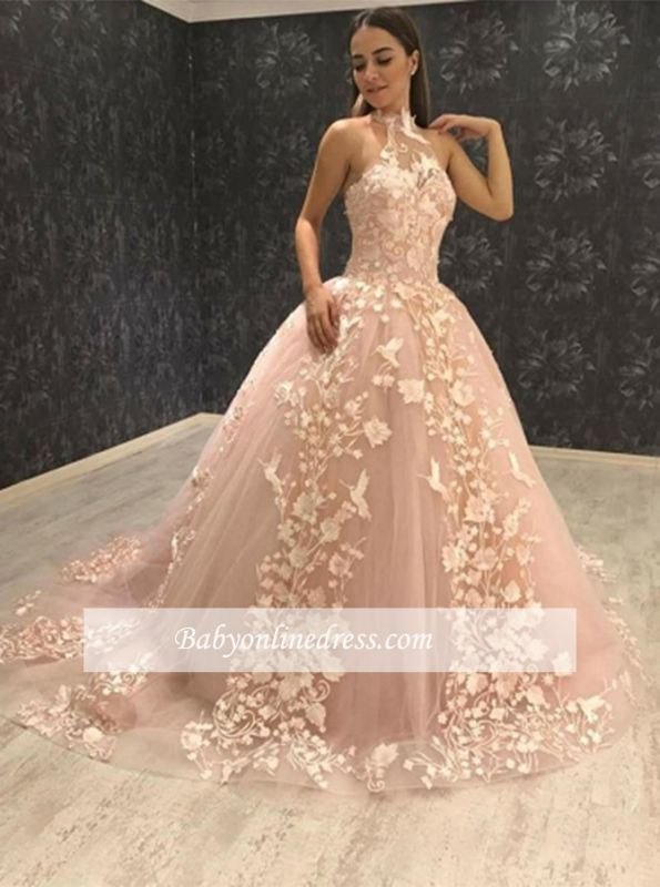 Elegant Halter Sleeveless Prom Gowns | Tulle Ball Gown Evening Dresses