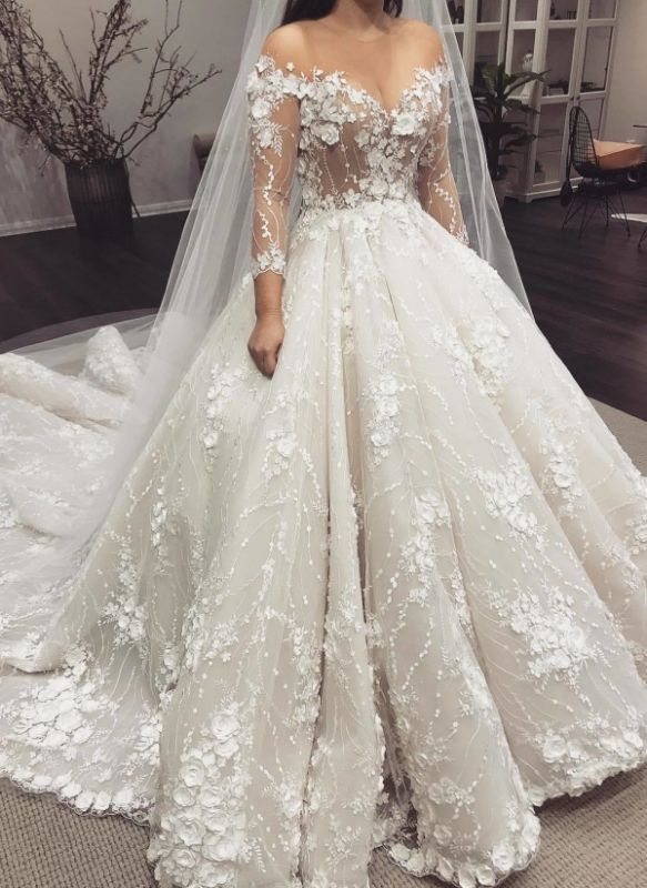 Gorgeous 3D-Floral Appliques Wedding Dresses | Long Sleeves Ball Gown Bridal Gowns