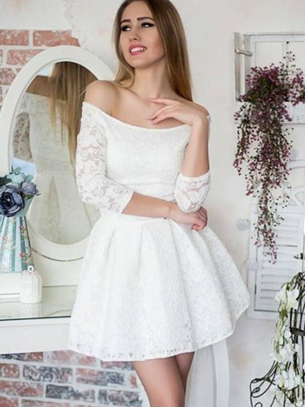 White Lace A-Line Homecoming Dresses | Off-The-Shoulder 3/4 Long Sleeves Short Graduation Dresses