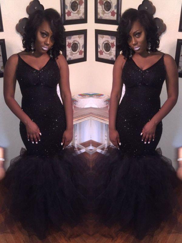Sexy Black Mermaid Prom Dresses | Shiny Spaghetti Straps Sequins Tulle Evening Dresses