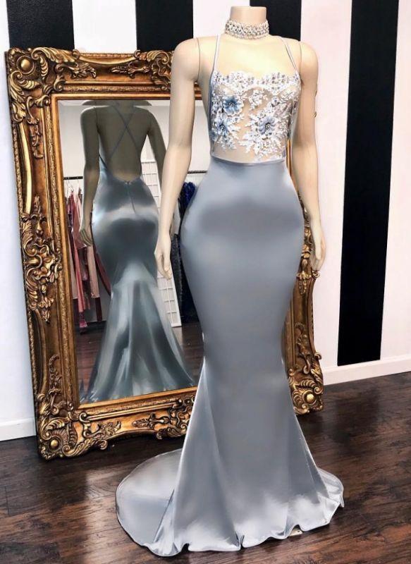 Sexy Sheer Flowers Mermaid Prom Dresses | Crisscross Back Long Party Dresses BC3082