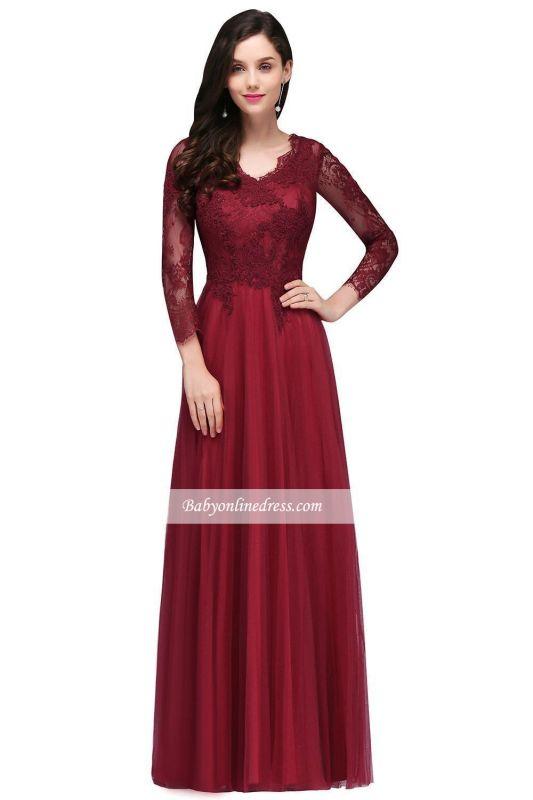 Long-Sleeves V-Neck Floor-Length Burgundy A-line Prom Dresses