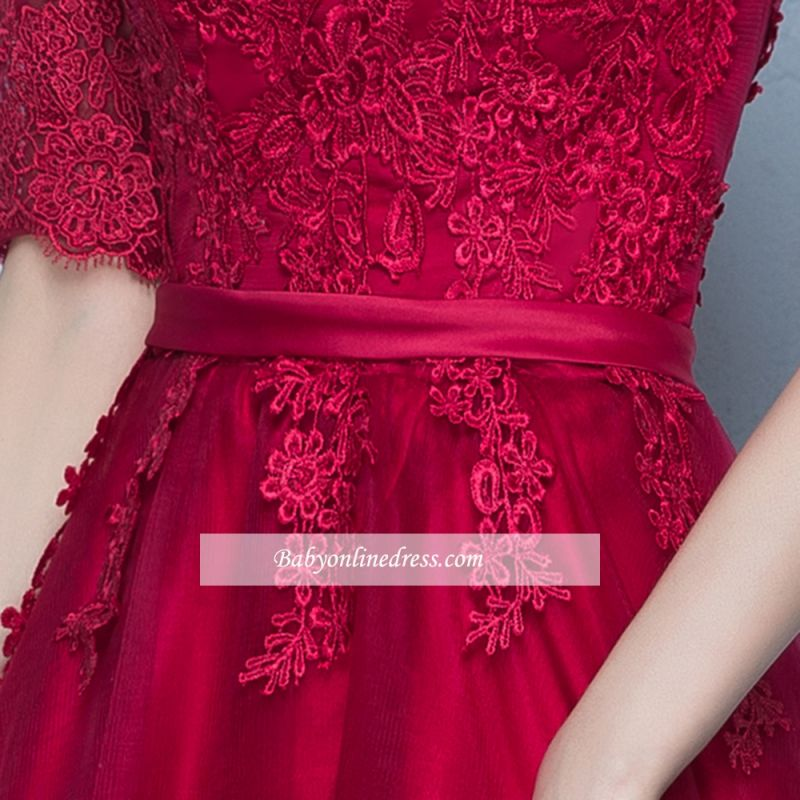 A-Line Lace Lace-Up Floor-Length Half-Sleeves Glamorous Evening Dresses