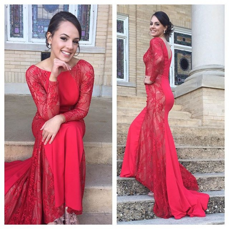 Mermaid Lace Jewel Red sexy 2021 Evening Dress Long Sleeve Sweep Train
