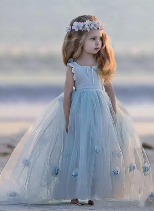 Romantic Princess Flower Girl's Dresses | Light Sky Blue Ball Gown Long Girl's Party Dress