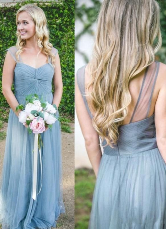 Elegant A-Line Tulle Bridesmaid Dresses | Scoop Cap Sleeves Ruched Maid Of The Honor Dresses