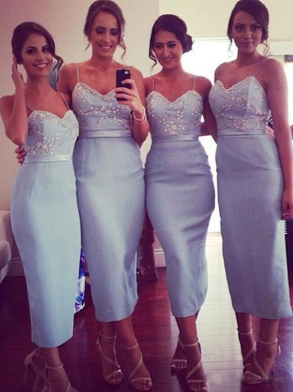 Elegant Sheath Bridesmaid Dresses | Spaghetti Straps Appliques Beaded Tea Length Prom Dresses