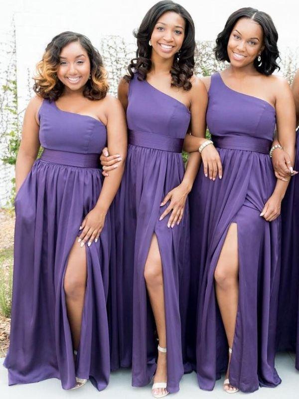 Simple One Shoulder A-Line Bridesmaid Dresses | Side Slit Long Wedding Party Dresses