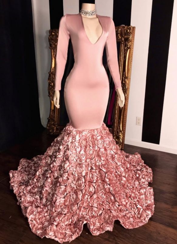 Elegant Pink Flowers Prom Dresses | V-Neck Long Sleeves Formal Dresses