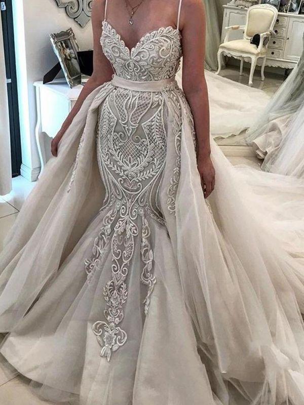 Elegant Lace Mermaid Wedding Dresses   Spaghetti Straps Over Skirt Long Bridal Gowns