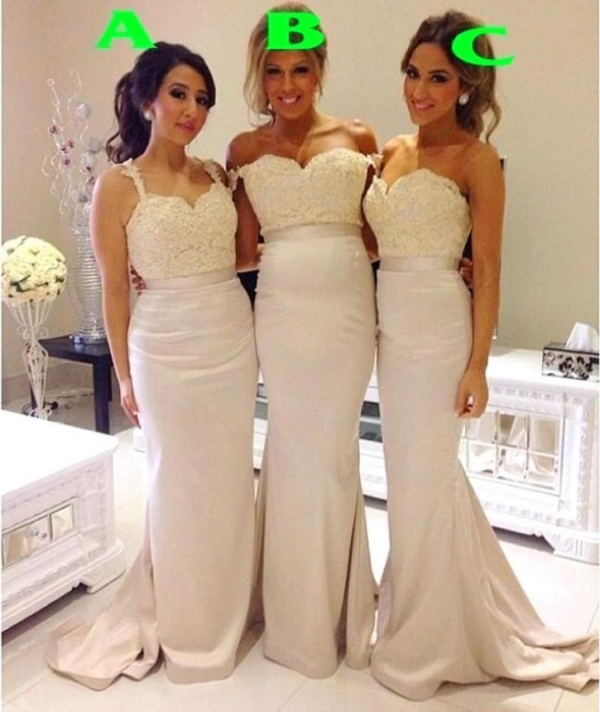 2021 Lace Mermaid Bridesmaid Dresses Sweep Train Simple Party Gowns