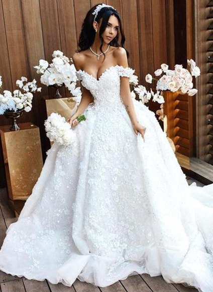 Romantic Floral Appliques Ball Gown Wedding Dresses | Off-the-Shoulder Bridal Gowns