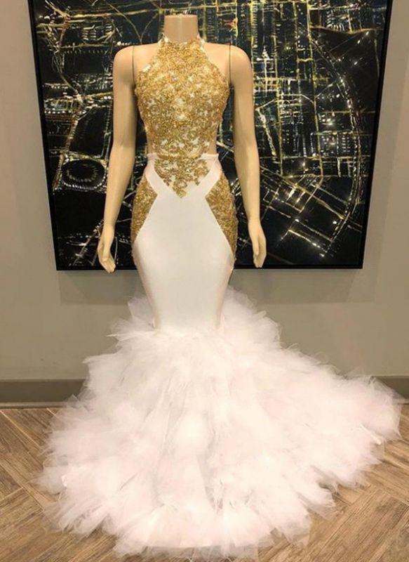 Amazing Gold White Prom Dresses | Halter Neck Mermaid Evening Gowns