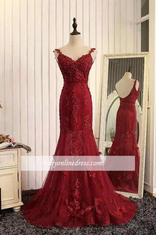 Burgundy Lace Appliques Tulle Prom Dresses Mermaid Backless Evening Gown BA5184