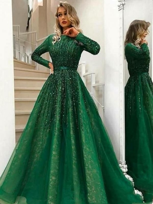 Green Lace A-Line Evening Dresses | Jewel Long Sleeves Beading Prom Dresses