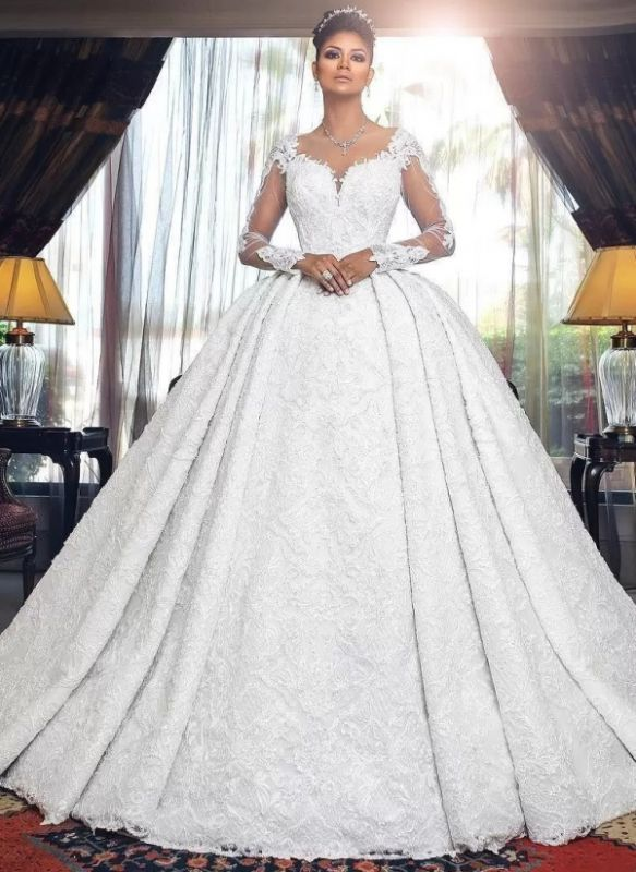 Amazing Ball Gown Wedding Dresses | Long Sleeves Sheer Back Bridal Gowns