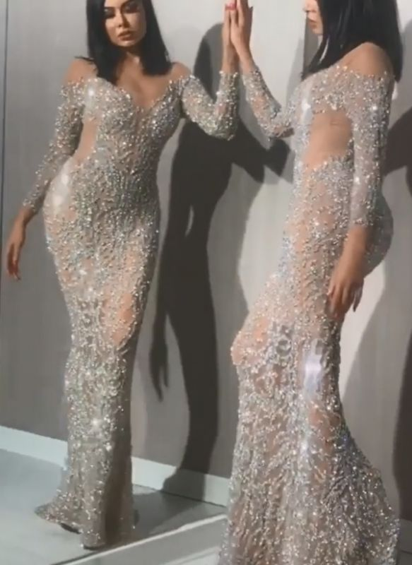 Luxury Silver Bead Mermaid Evening Gowns | Long Sleeves Sheer Pageant Dress