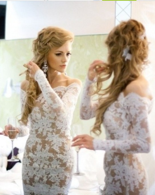 Wholesale 2021 Best Selling Dresses for Proms Long Sleeves Mermaid Nude Color Lace Evening Dresses