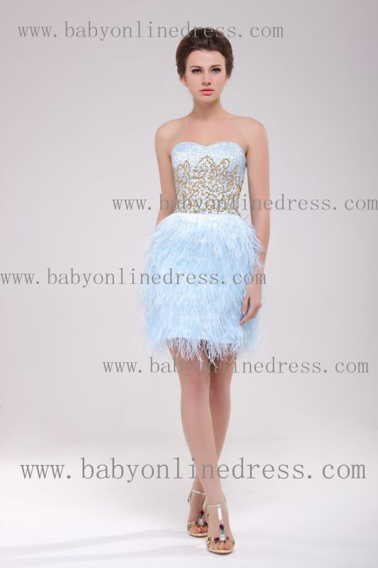 2021 Homecoming Dresses Strapless Lace dresses Mini Feather Sexy dresses Cocktail Dresses B222