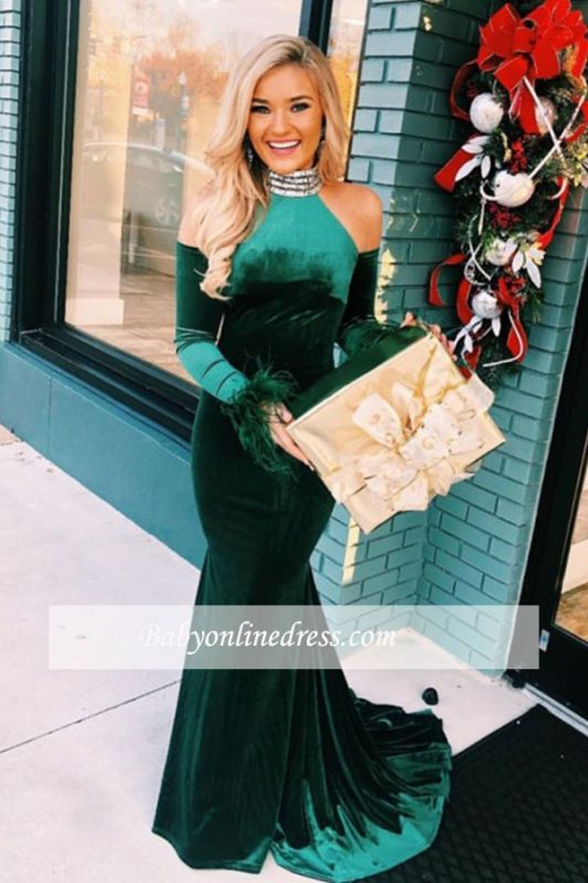 Floor-Length Long-Sleeves Excellent Cold-Shoulders Evening Dresses |  Mermaid High-Neck Formal Gowns