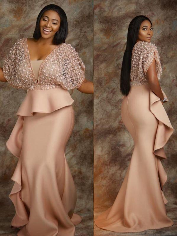 Luxury Beading Ruffles Mermaid Prom Dresses   V-Neck Half Sleeves Fashion Evening Dresses