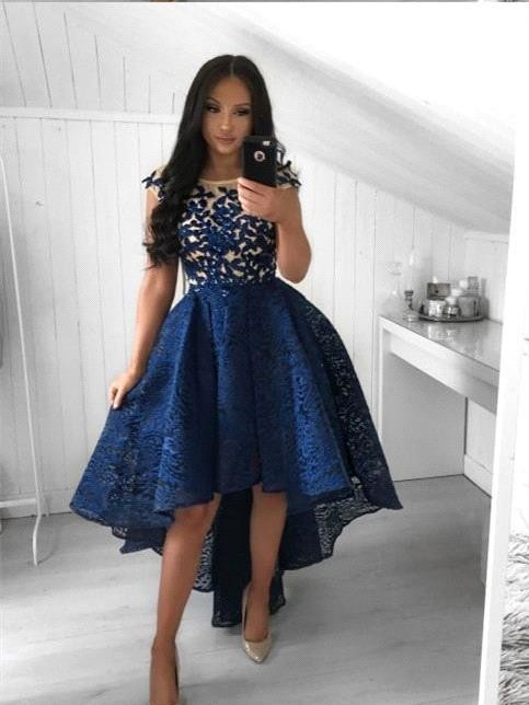 Chic Navy Blue Lace High Low Prom Dresses | Scoop Cap Sleeves Appliques A-Line Homecoming Dresses