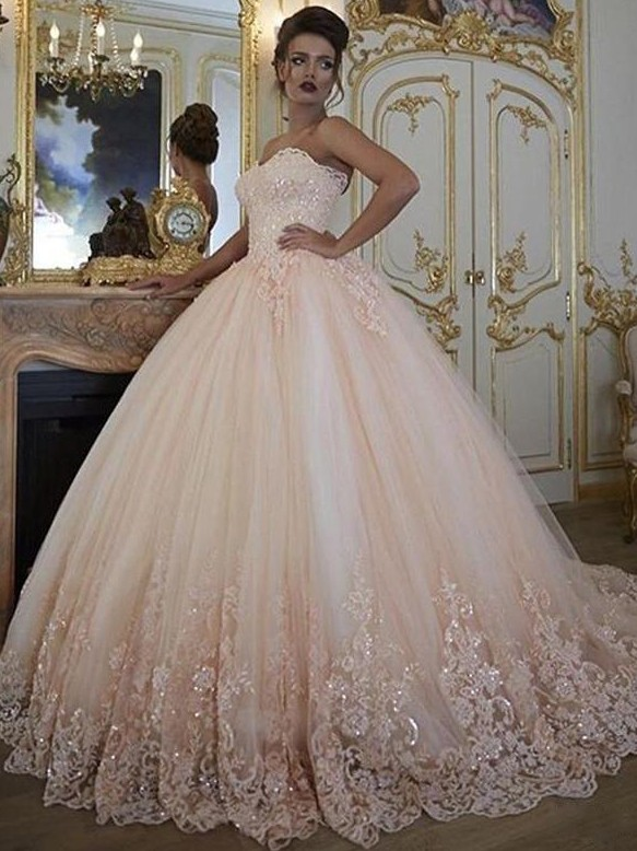 Exquisite Lace Ball Gown Wedding Dresses | Sweetheart Sleeveless Tulle Bridal Gowns