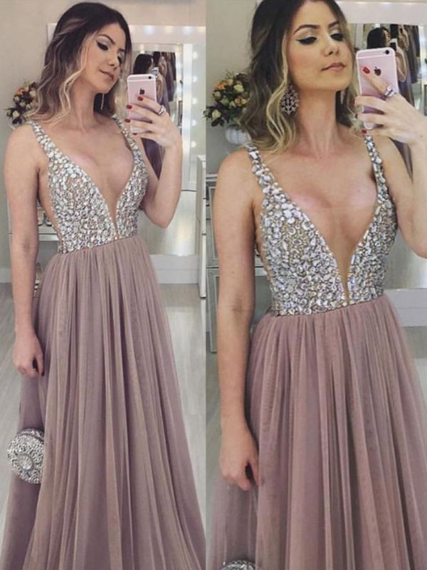 Luxury Tulle A-Line Prom Dresses | Straps Beading Evening Dresses