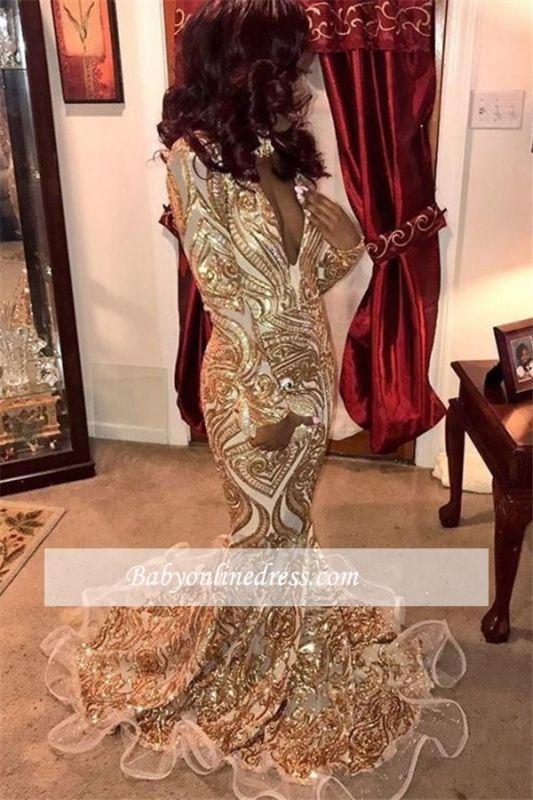 Elegant Gold Appliques Mermaid Evening Dresses   Long-Sleeves V-Neck Prom Dresses