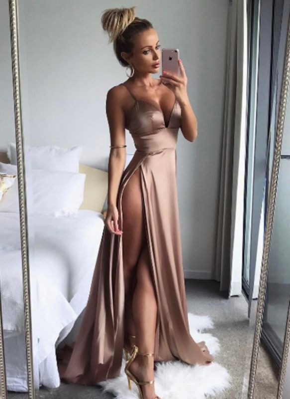 Sexy Champagne Slits Prom Dresses | Spaghetti Straps Backless Party Dresses
