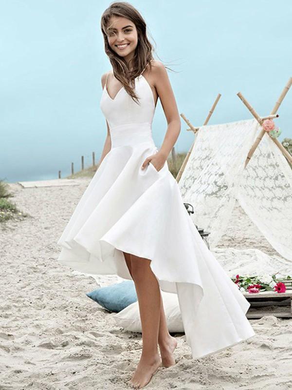Simple High Low Wedding Dresses | Spaghetti Straps A-Line Beach Wedding Dresses