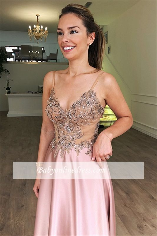 Pink See-Through Appliques Formal Dresses   Sexy Spaghetti-Straps A-Line Cheap Prom Dresses