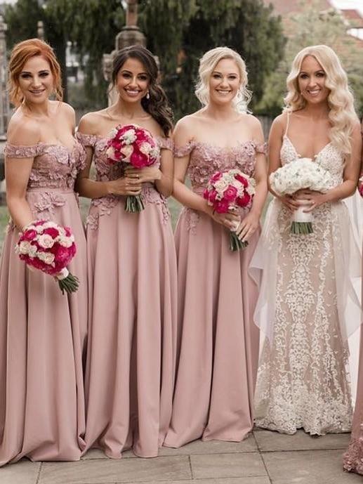 Elegant A-Line Pink Bridesmaid Dresses | Off The Shoulder Lace Appliques Wedding Party Dresses