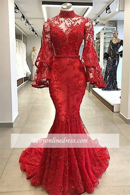 Glamorous Long-sleeves Beading Prom Dresses   High-Neck Lace Appliques Mermaid Evening Gowns