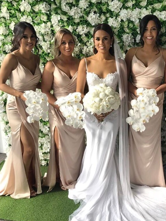 Cheap Simple Mermaid Bridesmaid Dresses   Spaghetti Straps Side Slit Maid Of The Honor Dresses
