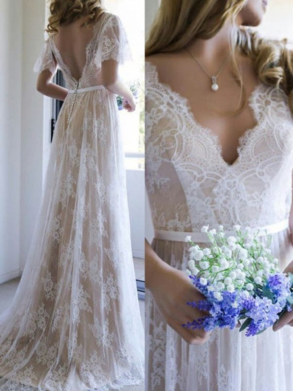 Elegant Lace A-Line Wedding Dresses | V-Neck Short Sleeves Sexy Bridal Gowns