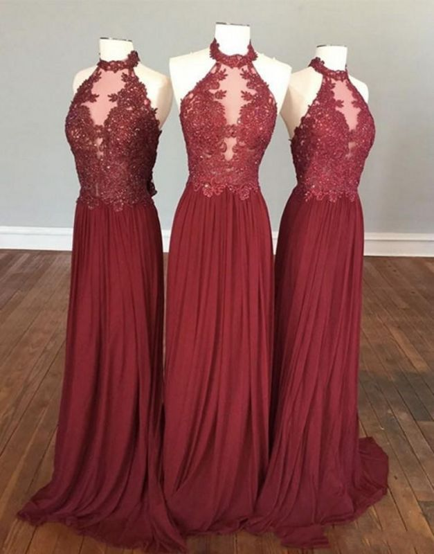 Sexy See Through A-Line Bridesmaid Dresses | Halter Lace Appliques Long Wedding Party Dresses